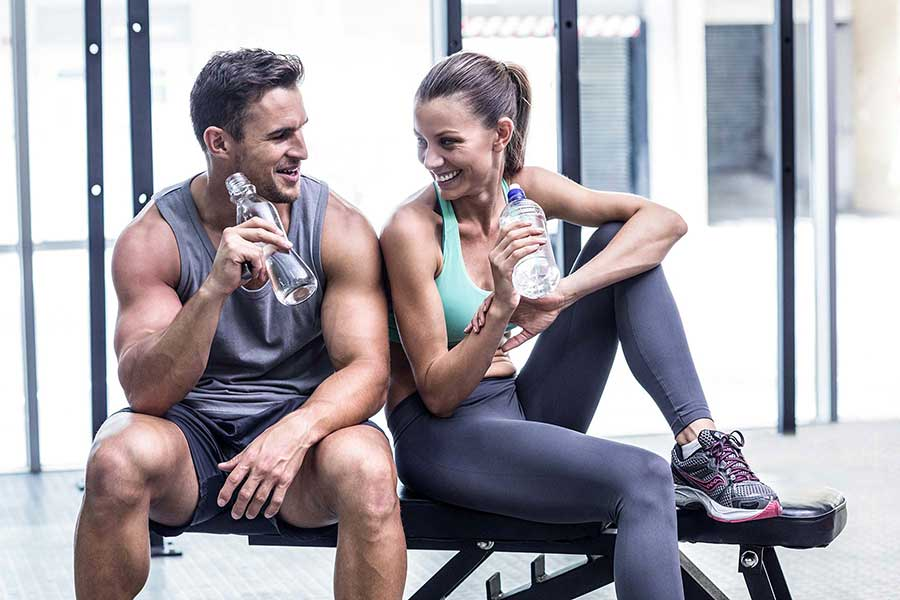 Couple sweating together