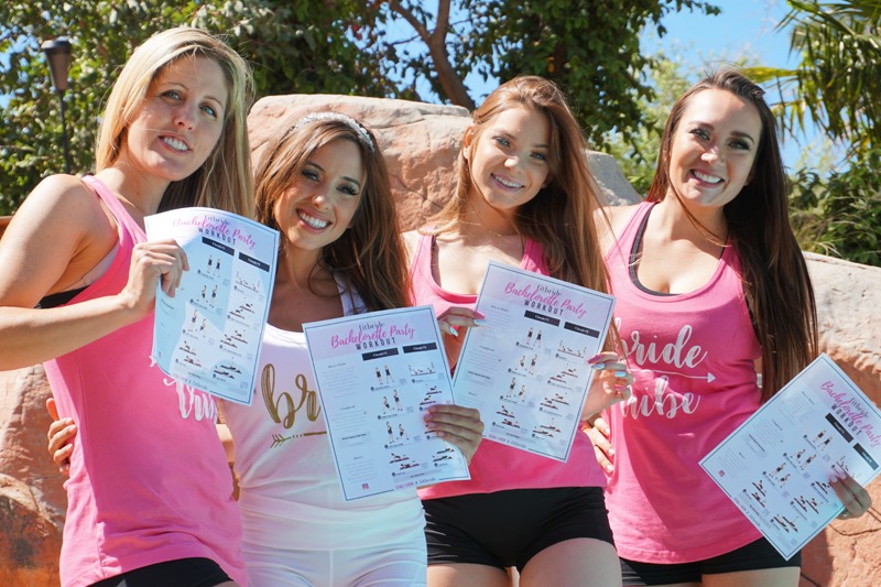 Photo of bridal party doing the Fitbride Bachelorette Party Workout